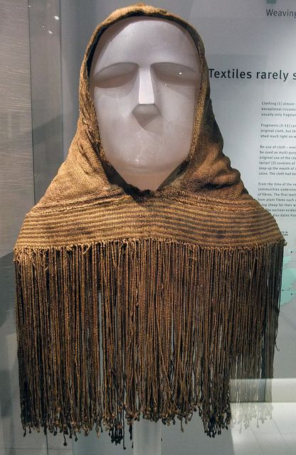 Orkney Hood. Made of wool. Made between 250 - 615 AD. Discovered in a bog on the Scottish island of Orkney in 1867 and was most likely worn by a child (image National Museums of Scotland) http://www.archaeologyonline.org/Documents/TheOrkneyHood.pdf