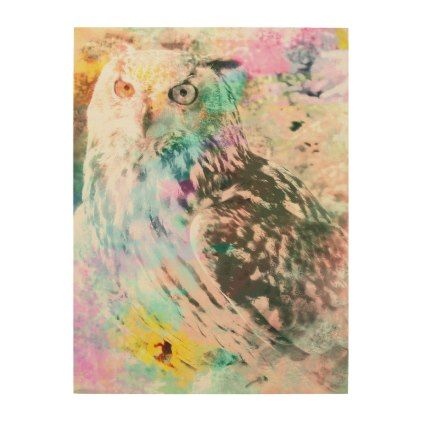 Majestic Eagle Owl Digital Watercolor Wood Print - photographer gifts business diy cyo personalize unique