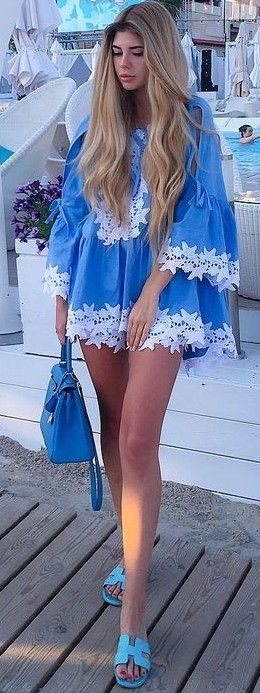 #summer #beach #outfits | Blue + Pop Of White