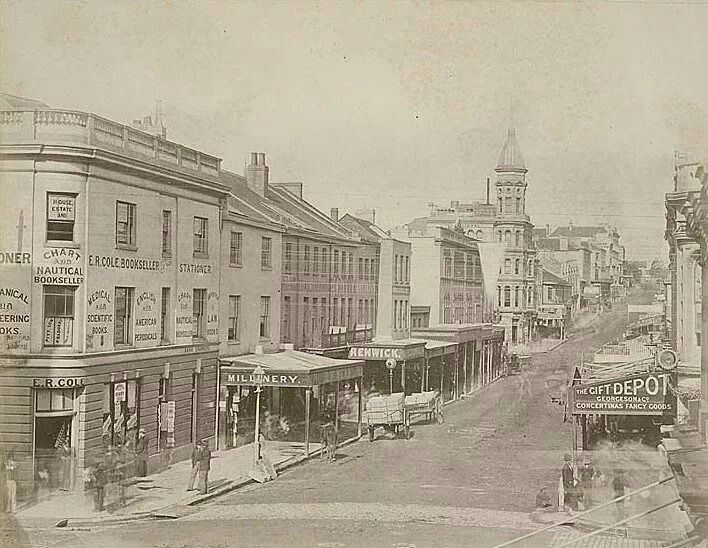 King St,Sydney from corner of George St,looking eastwards in 1880.State Records of NSW.A♥W