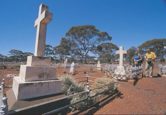 Many a sad and tragic tale is told by reading the inscriptions on headstones at the historic Coolgardie cemetery.   The most famous grave is that of Ernest Giles, the great Australian outback explorer who had first traversed the region in 1875, seventeen years prior to Bayley and Ford's historic gold discovery at Coolgardie.