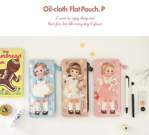 """Paper Doll Mate"" Afrocat Pencil Case Oil Cloth Flat Multi Pouch P 3 Colors   eBay"