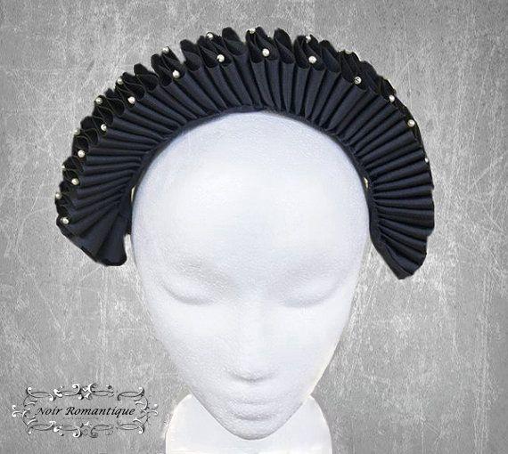 Black elizabethan headpiece-gothic headpiece-elizabethan costume-Classic black elizabethan ruff