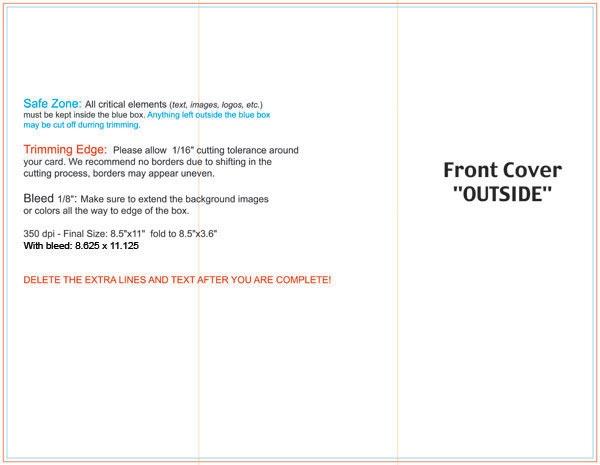 dimensions of tri fold brochure