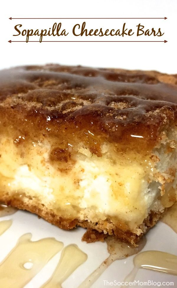 These Sopapilla Cheesecake Bars are the real deal! Light and fluffy, luscious and creamy - real cheesecake sandwiched between layers of cinnamon-y sopapilla and drizzled with honey. You will LOVE this recipe!