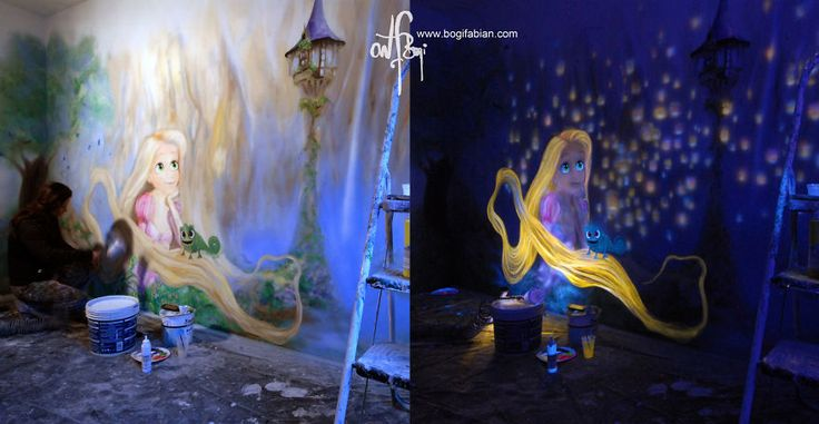 When The Lights Go Out, My Glowing Murals Turn These Rooms Into Dreamy Worlds // Bogi Fabian / bedrooms / tangled and Rapunzel - perfect for a little girl