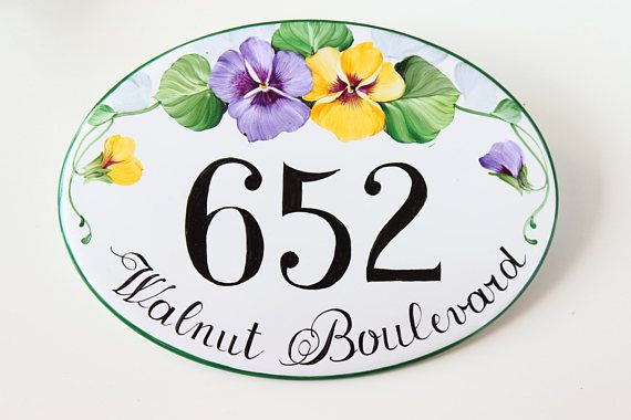 This house number plaque is entirely hand painted on a porcelain plaque. It can be used as: address plaque, house numbers or house sign. ★ House numbers is one of the nicest way to add a touch of personality and style to your home! Distinguish your house from the others with a