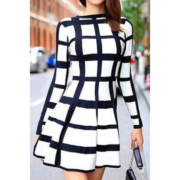 Trendy Round Neck Long Sleeve Plaid Dress For Women