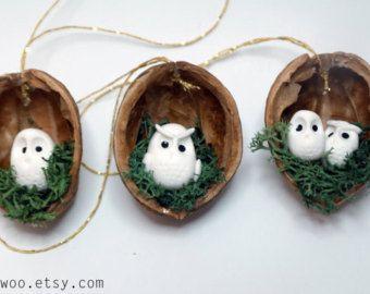 Cáscara de seta de adornos de Navidad nuez árbol por Velwoo en Etsy