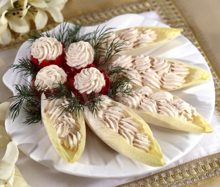 ... endive | Belgium Endive Stuffed with Salmon Mousse Served upon Scallop