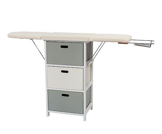 Mueble de planchado de madera y polipiel blanco y gris - Mueble plancha plegable ...
