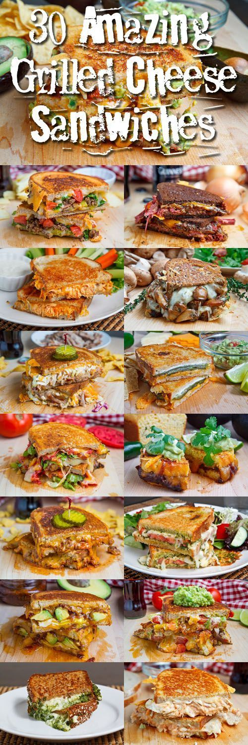 30 Amazing Grilled Cheese Sandwiches:  Jalapeno Cornbread Grilled Cheese with Chipotle Caramelized Onions, Refried Black Beans and Guacamole.  JUST SHOOT ME IN THE HEAD.  NOW.