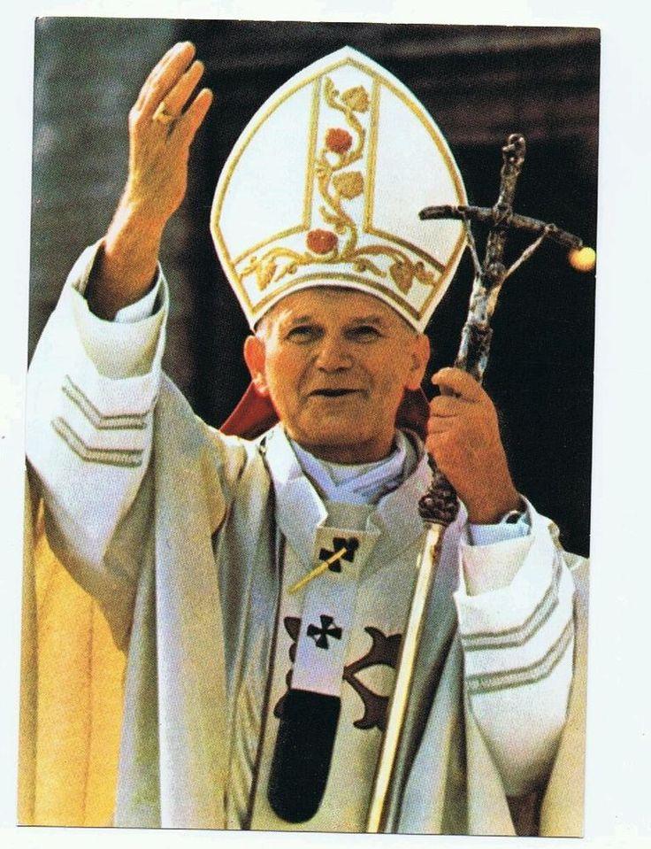 Papst Johannes Paul II im vollen Ornat mit Stab ansichtskarte