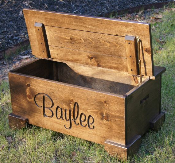 personalized Large Wooden Chest/Toy by dickersonsdesign on Etsy