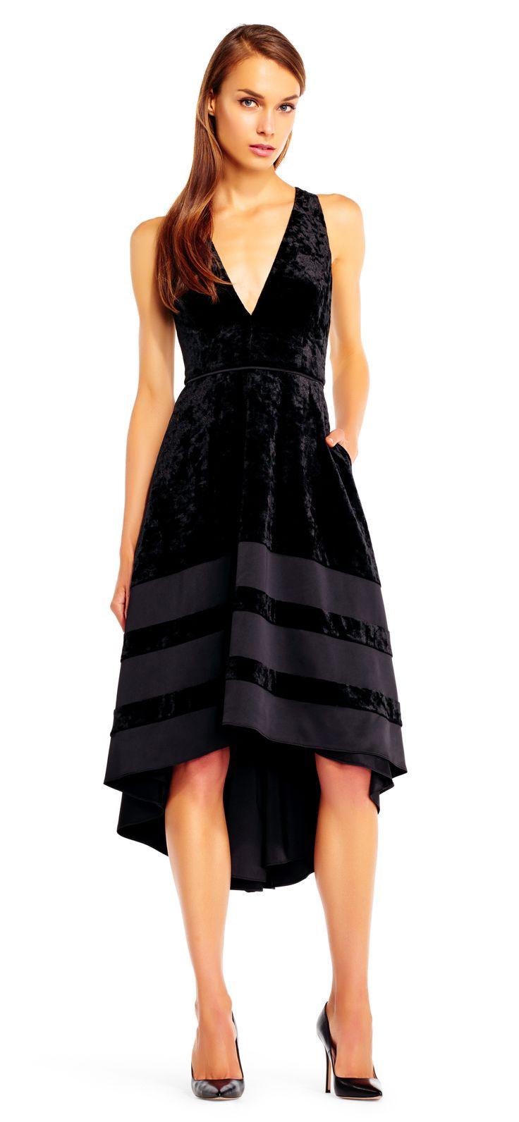 High low velvet halter dress with deep vneckline women