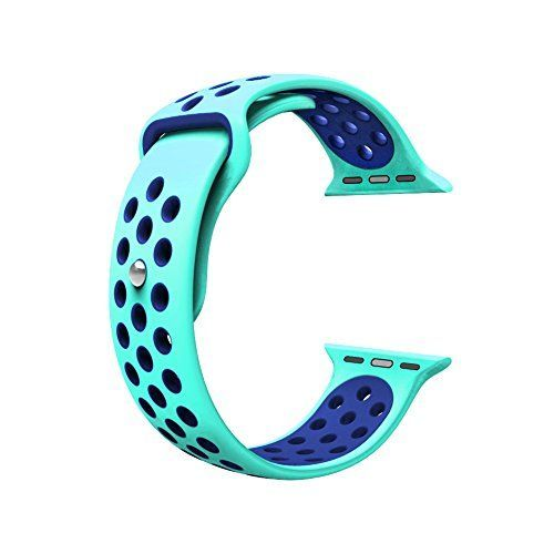 For Apple Watch Band, Wearlizer Soft Silicone Sport Replacement Strap for both Series 1 and Series 2 - 38mm Green and Blue *** Read more reviews of the product by visiting the link on the image.