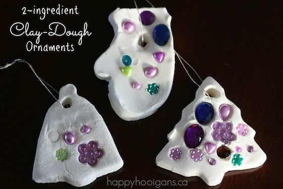2-ingredient White Clay Dough ornaments! So easy, so pretty!  (happy hooligans)