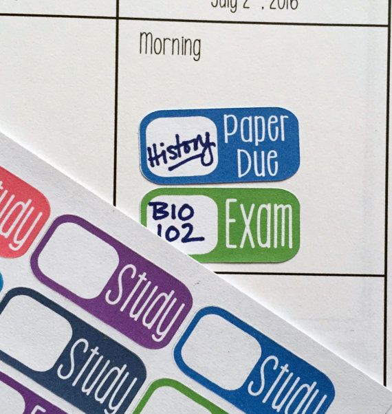 Stay on top of your collegiate life with our student planner stickers! Each sticker sheet contains 30 die-cut matte stickers in a rainbow of pastels. Our student stickers are unique in that each has both a reminder and a blank field so you can fill in the class you need to prep for.  Each sheet contains the following: 8 Study stickers 8 Exam stickers 7 Paper due stickers 7 Project due stickers  Each sticker is non-removable, slightly over an inch wide and half an inch tall. Perfect for any…