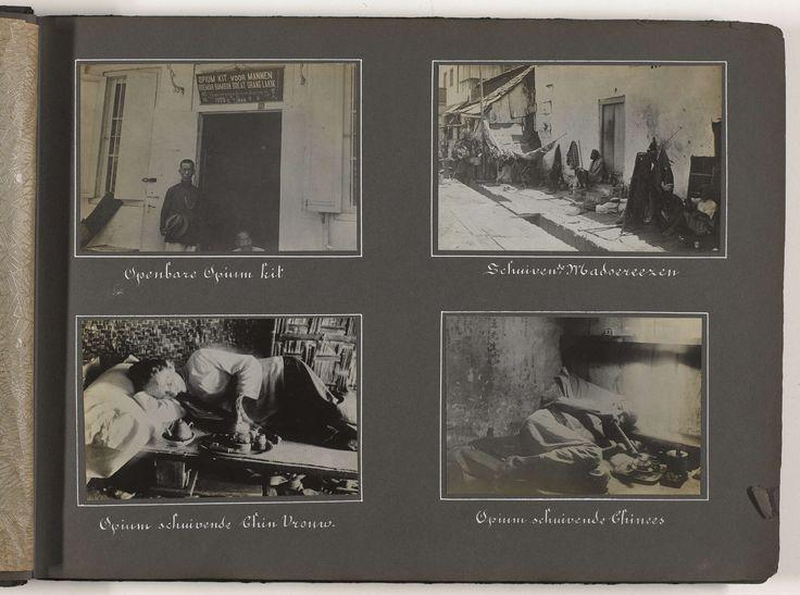 Anonymous | Opiumschuivers, Anonymous, 1920 - 1930 | Albumblad met vier foto van opiumgebruikers: een openbare opiumkit, schuivende Madoereezen, een opiumschuivende Chinese vrouw, en een opiumschuivende Chinese man. Onderdeel van het fotoalbum uit 1930 met politiefoto's over de opiumsmokkel in Indië.