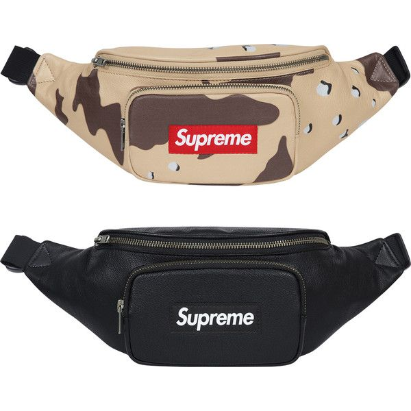 Supreme Leather Waist Bag ❤ liked on Polyvore featuring bags, waist pack bag, hip fanny pack, genuine leather bag, belt bag and leather bags