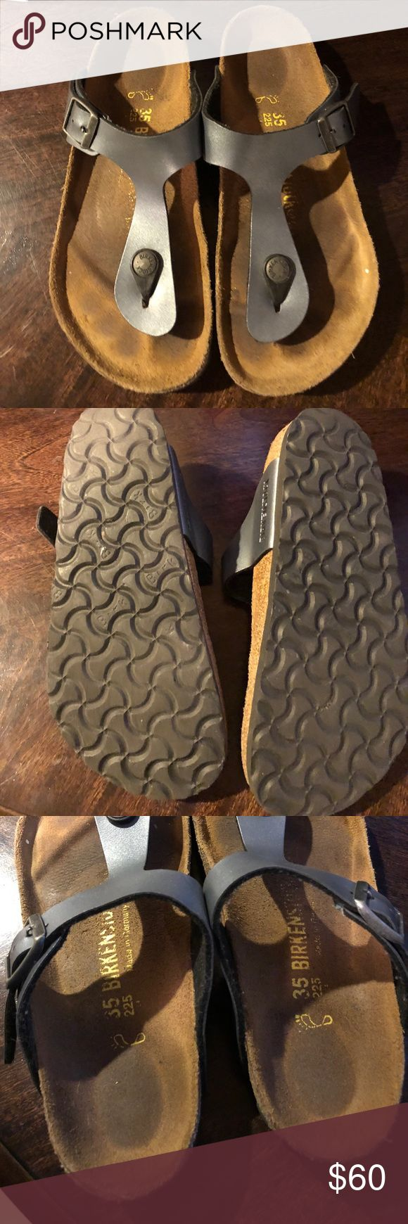 Birkenstock Gizeh size 35 Birkenstock Gizeh size 35. Nubuck things.  Looks gray or dark silver.  Great condition.  Few signs of wear on sole but no other signs. Birkenstock Shoes Sandals