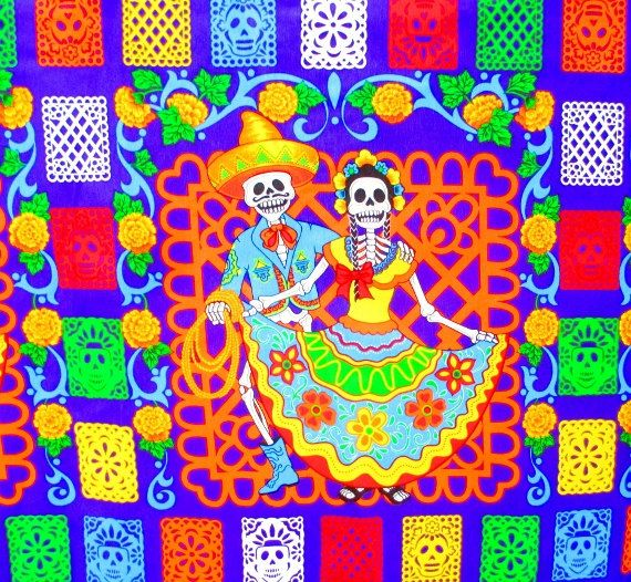 halloween fabric halloween table cloth mexican day of the dead dia de los