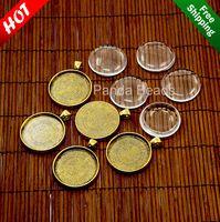30 мм прозрачное стекло кабошоны и никель бесплатно античная золотой металл сплава выпуклое ювелирные изделия ожерелья кабошон установка, 41 х 32 х 3 мм