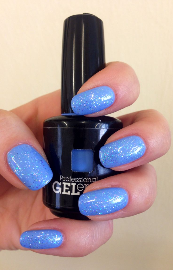 Love this. True blue with glitter on @Jessica Nails! Summer nails