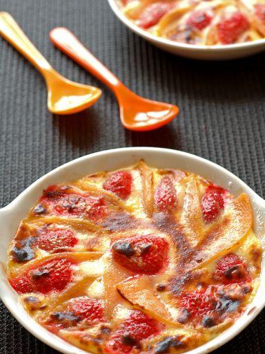 Gratin aux fraises et au melon - Recette de cuisine Marmiton : une recette