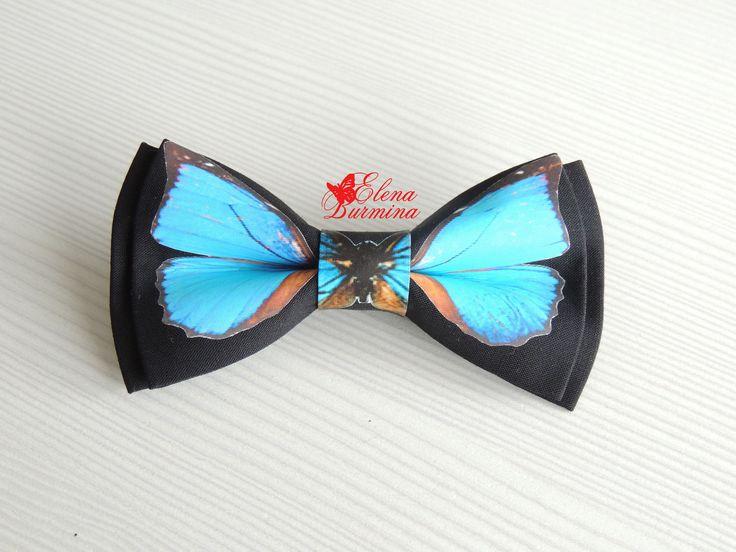 Купить Бабочка галстук с голубой бабочкой, хлопок - голубой, рисунок, бабочка, галстук-бабочка, галстук