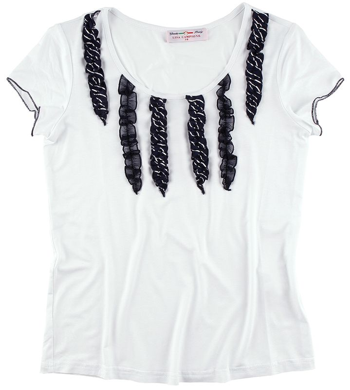 Modisches T-Shirt aus der Cruise Line Kollektion von LISA CAMPIONE. Das weiße T-Shirt besticht mit den modischen #Rüschen, den eingefassten Ärmelabschlüssen und dem angesagten Rundhals.