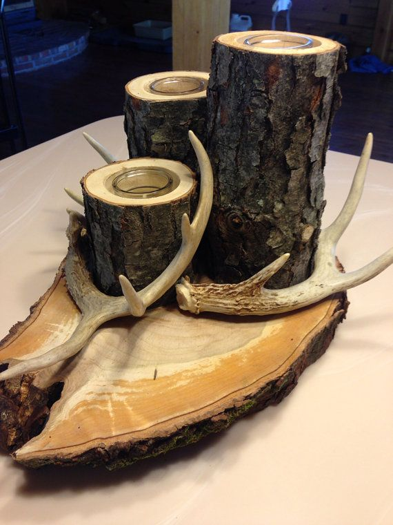 Deer antler/ log candle on Etsy, $50.00