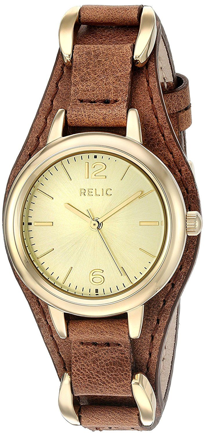 Relic Women's 'Maya' Quartz Metal and Leather Casual Watch, Color:Brown (Model: ZR12187) *** Want additional info for the watch? Click on the image.