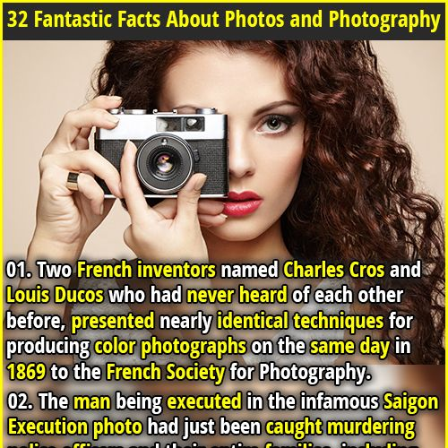 32 Fantastic Facts About Photos and Photography | 01. Two French inventors named Charles Cros and Louis Ducos who had never heard of each other before, presented nearly identical techniques for producing color photographs on the same day in 1869 to the French Society for Photography. | 02. The famous World War 2 photo of a British milkman in the Blitz was faked. The photographer got his assistant to dress up to create a positive image that wartime censors wouldn't block.