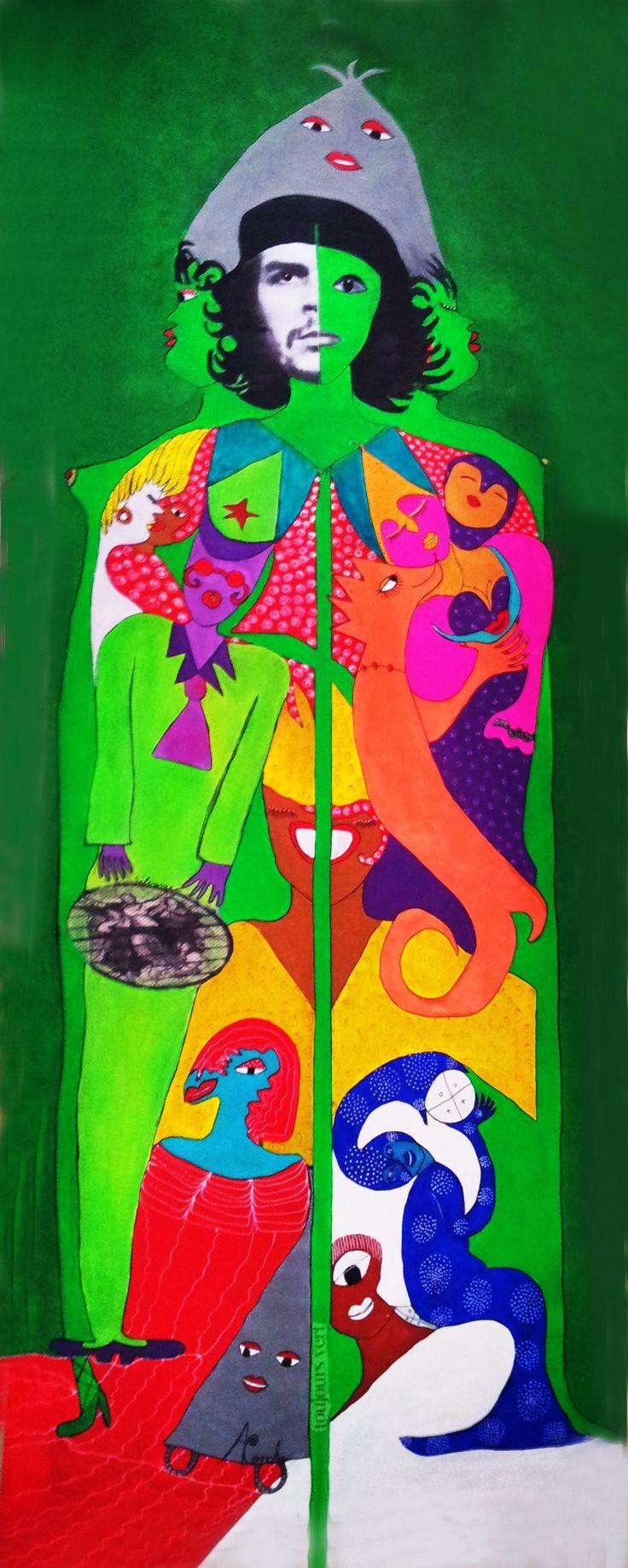 Che camino verde by Aconcha. Acrylique, technique mixte, collage sur toile.