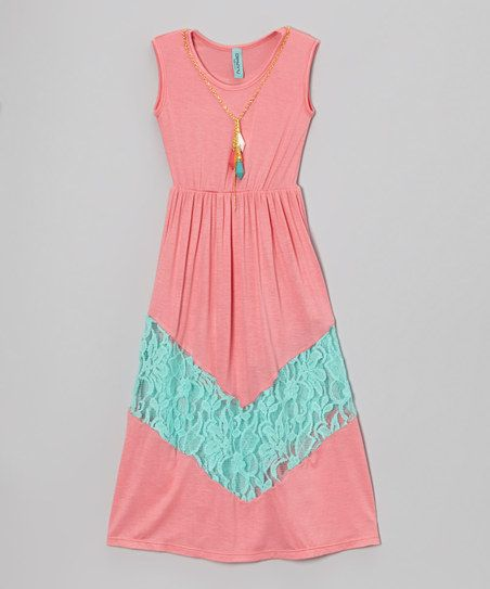 Coral & Teal Lace Sleeveless Dress - Toddler & Girls