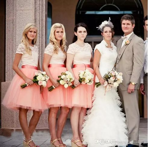 Amazing short country Bridesmaids Tutu Dresses Cheap High Quality Coral Tulle Puffy Bust Skirts Wedding Party Bridesmaid Gowns