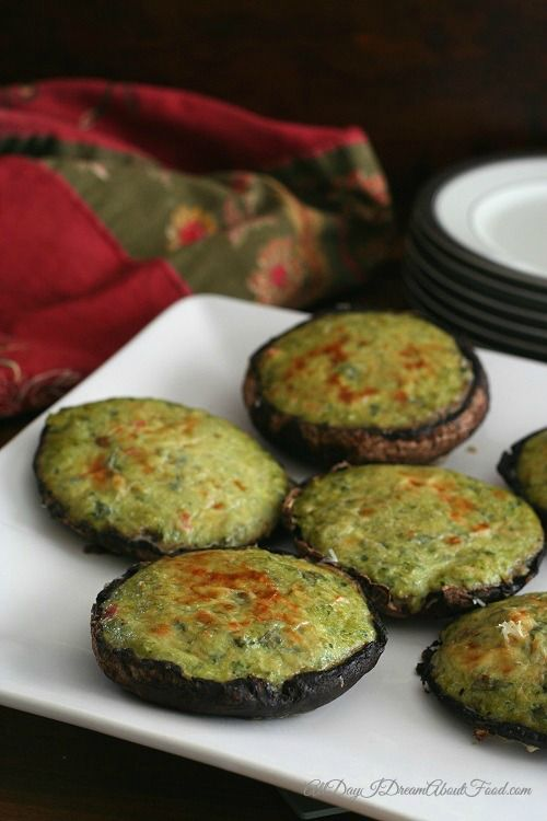 Spinach Artichoke Portabella Mushrooms by alldayidreamaboutfood #Mushrooms #Quiche #Artichoke #Spinach #Light #GF