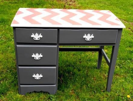 Hands down Paula's Chevron stenciled desk is GAW-GEOUS!     Where would you use this stripe-tastic stencil? Buy it now! http://www.cuttingedgestencils.com/chevron-stencil-pattern.html  #chevron #stencil #patterns #cuttingedgestencils