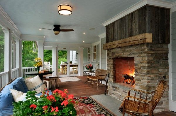 Fireplace on Screened Porch