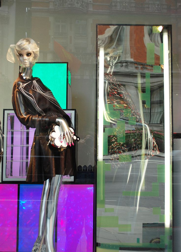 """Harvey Nichols for London Fashion Week,""""mannequins are styled in a crome body finish and flesh cut-away sections"""", pinned by Ton van der Veer"""