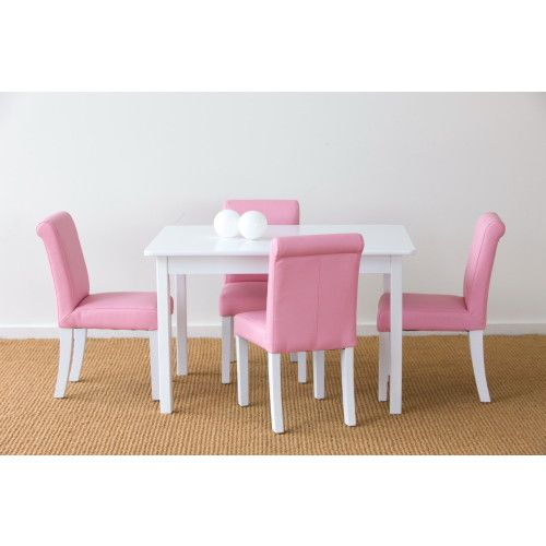 New Kids Childrens Toddler Wooden White Table And Cooper Pink Chair Chairs