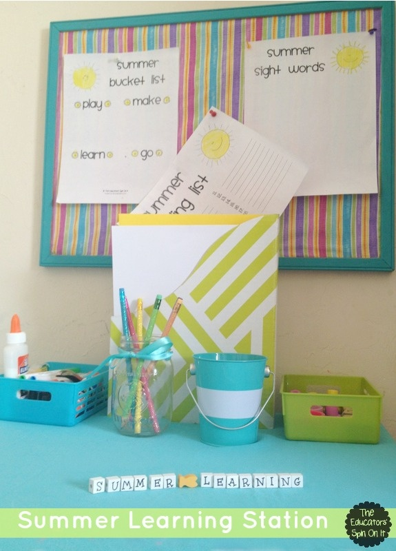 Make your Own Summer Learning Station for your kids this summer to avoid the summer slide.  Tips on what to include plus printables for summer bucket list, Reading List, Sight Word Practice and Summer Journal!