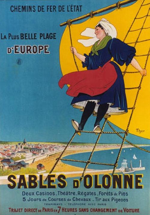 Sables D'Olonne , France Atlantique . Vintage travel beach poster #essenzadiriviera www.varaldocosmetica.it/en
