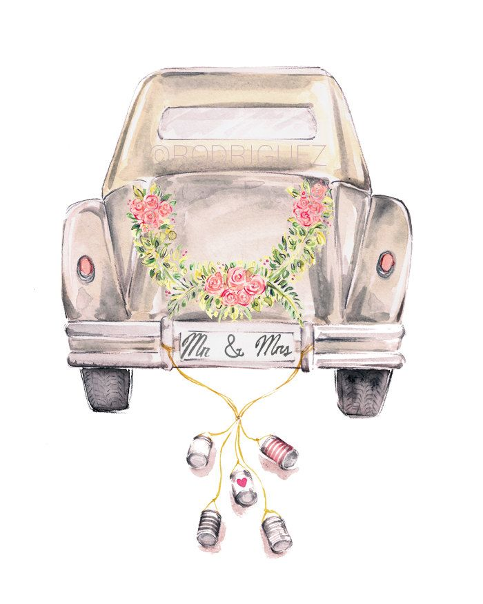 Vintage Wedding Getaway Car Watercolor by MarketteStudio on Etsy