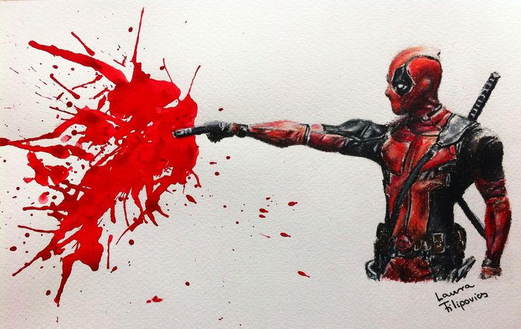My 'Captain' Deadpool drawing, done with ink and Prismacolor premiers