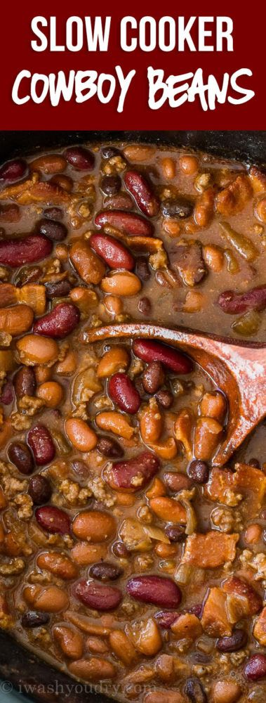 These Slow Cooker Steakhouse Cowboy Baked Beans are a thick and hearty side dish with a punch of savory and sweet spices!