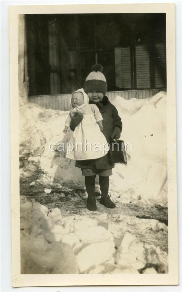 Kid Cute Little Girl Holds Big Baby DOLL In Snow Antique Vintage 1920s Photo