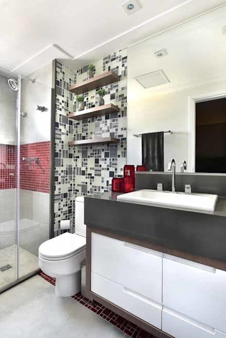 Apto em Santo André: Banheiros ecléticos por Espaço Alessandra Luz Casa & Jardim