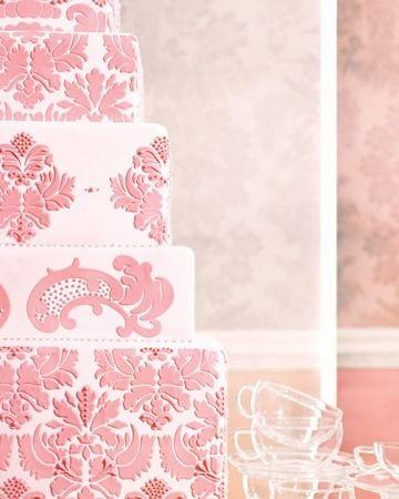 """tsmithbridal:  """" Pink """"damask"""" wedding cake  """""""